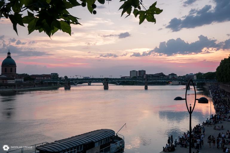 Toulouse - Fête de la musique - Coucher de soleil sur la Garonne