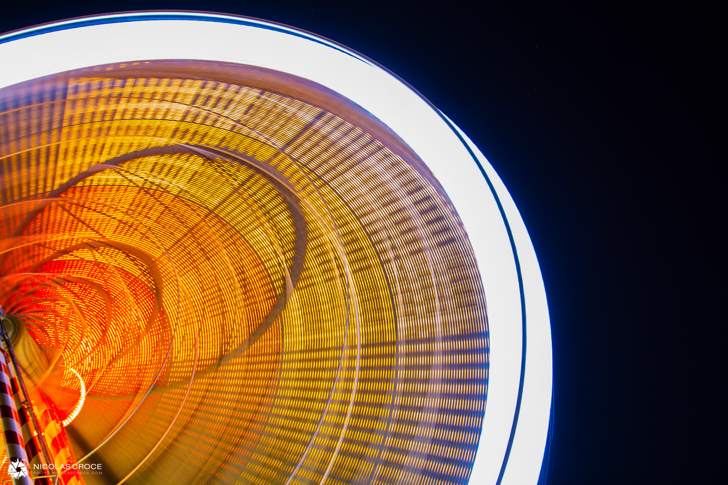 Ferris wheel in toulouse, long exposure