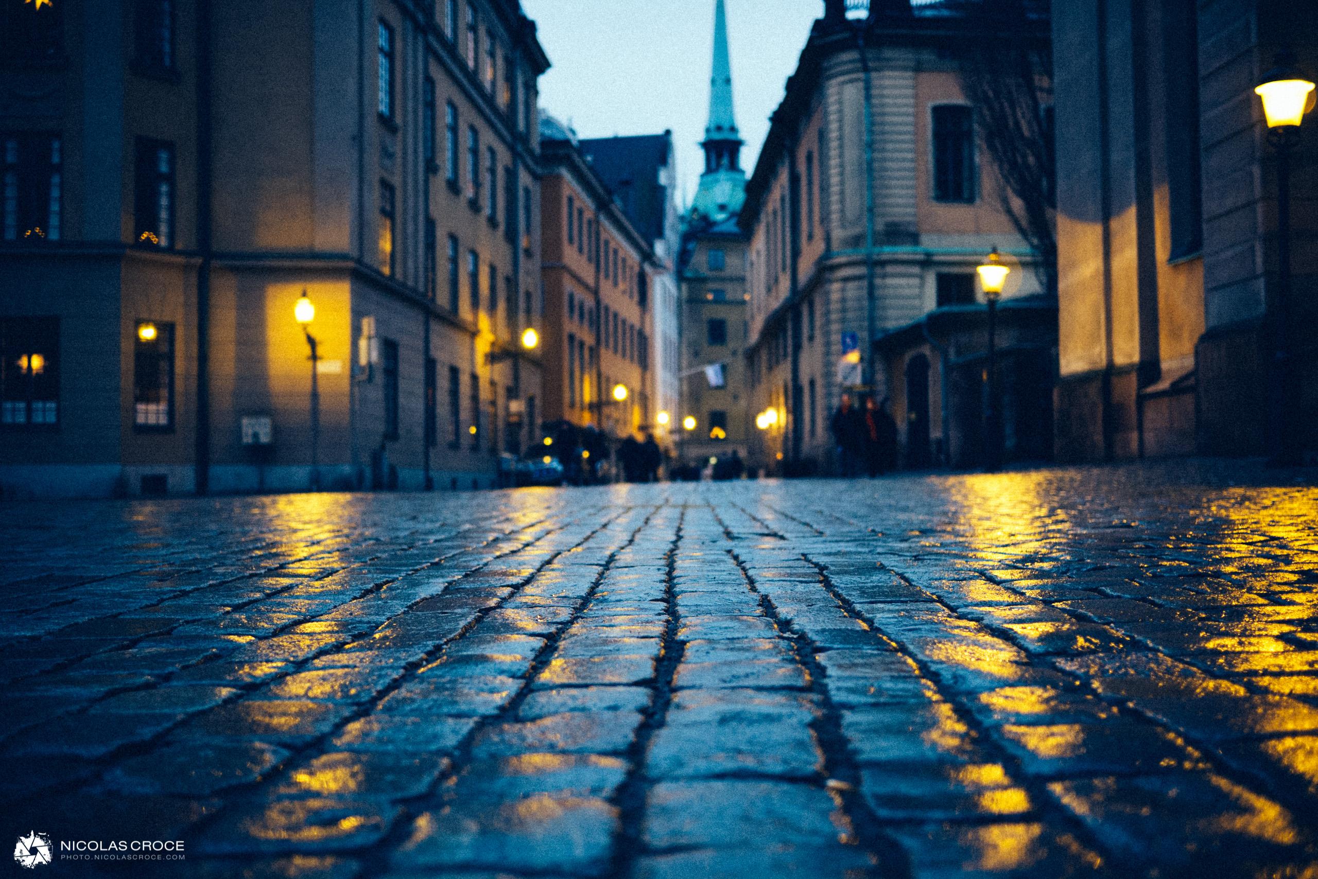Une ruelle de Gamla Stan (la vielle ville) à Stockholm